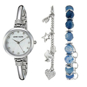 Anne Klein Women's Swarovski Crystal Watch and Bracelet Set