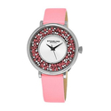 Stuhrling Original Women's Crystal Leather Strap Watch