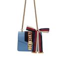 SSENSE:Gucci Sylvie 小号蓝色包包