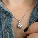 14k White Gold Round-Cut Diamond Pendant Necklace