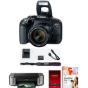 Canon EOS Rebel T7i DSLR Camera w/ 18-55mm IS STM Lens + Pro 100 Printer Kit