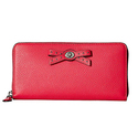 COACH Women's Bow Turnlock Tie Accordion Zip Amaranth Wallet