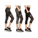 Women's High-Waist Mesh-Panel Active Capris with Pockets (3-Pack)