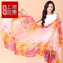 STORY OF SHANGHAI Women's Mulberry Flower Print Soft Large Silk Scarf Wraps