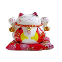 "4.5"" White Ceramic Maneki Neko Lucky Cat Coin Bank Style Red Fan"