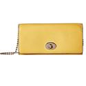 COACH Women's Crossgrain Leather Slim Chain Envelope Yellow Handbag