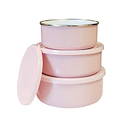 Reston Lloyd 6-Piece Enamel on Steel Bowl/Storage Set - Pink