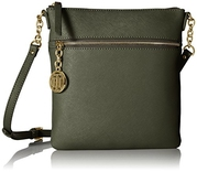 Tommy Hilfiger Sharon Text Leather Cross Body Bag