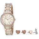 Fossil Women's Virginia Stainless Steel Watch and Earring Set