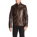 Cole Haan Men's Smooth Lamb Leather Moto Jacket, Java, Medium
