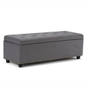 Simpli Home Hamilton Rectangular Storage Ottoman Bench