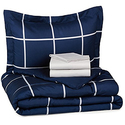 Navy Simple Plaid 5-Piece Bed-In-A-Bag
