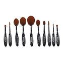 Mackertop Professional 10 Pcs Soft Oval Makeup Brush Set