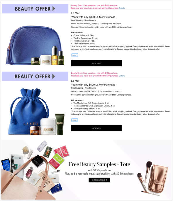 Plus Free Free Samples + Tote And Travel-size Brush set Neiman Marcus: Up To $391 Values Free Gift With La Mer Purchase