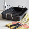 Sur La Table Hard-Anodized Roasting Pan with Nonstick Rack and Lifters