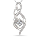 Diamond Cluster Twist Pendant in .925 Sterling Silver