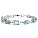 21.60 CTTW Genuine Blue Topaz Bracelet in Sterling Silver