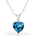4.00 CTTW Blue Topaz and Diamond Heart Pendant and Earrings Set in Sterling Silver