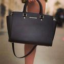 Michael Kors Selma Leather Satchel - Black