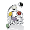 Round Multicolor Genuine Jade Bezel-Set .925 Sterling Silver Wrap Ring