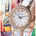 DKNY White Dial Rose Gold Steel and White Ceramic Ladies Watch