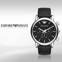 Emporio Armani Chronograph Black Leather Men's Watch