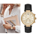 Michael Kors Sawyer Champagne Dial Black Leather Ladies Watch MK2433