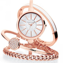 Anne Klein Women'sRose Gold-Tone Bangle Watch and Bracelet Set