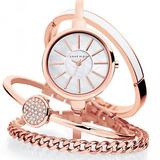 Anne Klein Women'sRose Gold-Tone Bangle Watch and Bracelet Set