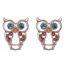 14K Rose Gold Plated Crystal Owl Earrings