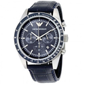 Emporio Armani Navy Blue Dial Chronograph Black Leather Men's Watch