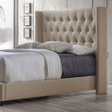 Curtin Fabric Upholstered Tufted Wingback Bed with Nail-Head Trim