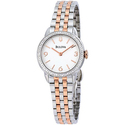 Bulova Diamond White Dial Two Tone Stainless Steel Ladies Watch