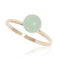 Light-Green Jade Ball Ring in Solid 14K Gold