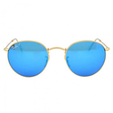 Ray-Ban Round Polarized Blue Flash Sunglasses