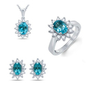 Blue Topaz and White sapphire -3 Pcs set in Sterling silver