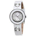 Gucci U-Play Silver Dial Leather Ladies Watch
