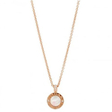 Bvlgari 18K Pink Gold Onyx Mother of Pearl Diamond Necklace
