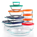 Pyrex 19-pc Bake, Store and Prep Set with Colored Lids