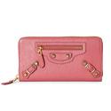 Balenciaga 粉色经典长款铆钉钱包