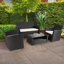 4pc Patio Garden Furniture Wicker Rattan Sofa Set