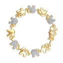 Brilliant Diamond Gold Plated Diamond Accent Elephant Bracelet