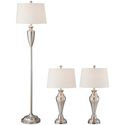 Denny Brushed Steel 3-Piece Floor and Table Lamp Set