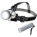 Stalwart 12-LED Headlamp Plus 6-LED Flashlight Set
