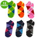 Women's Low-Cut Argyle Socks 12 Pack
