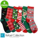 6 Pairs Christmas Pattern Crew Socks