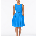 Calvin Klein Floral Lace Belted Fit & Flare Dress