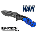 Wartech Navy Half Serrated Spring Assisted Rescue Knife
