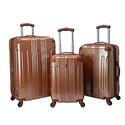 Travelers Club Luggage 3-Piece Metallic Hardside Spinners