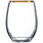 Gold Rim Stemless Wine Glass